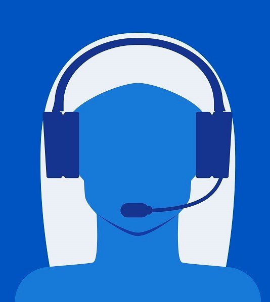 Call center consultant woman on blue background. Flat design. Vector illustration